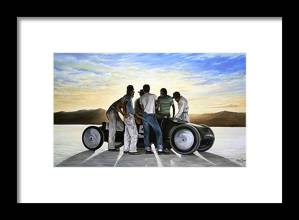Hot Rod Framed Print featuring the painting Lakester at Dawn by Ruben Duran