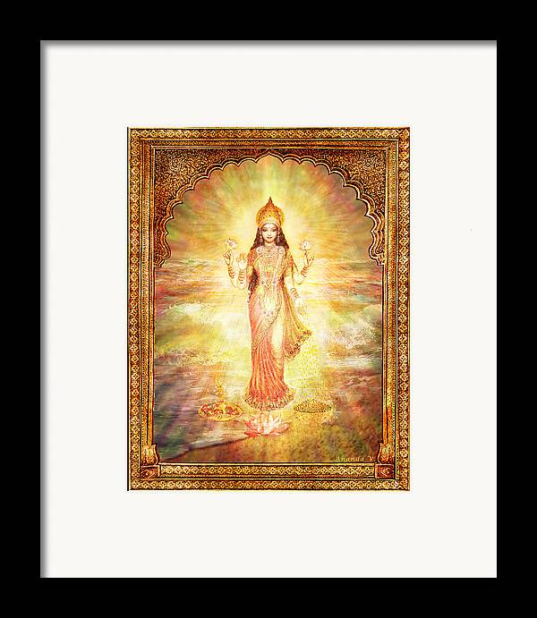 Goddess Painting Framed Print featuring the mixed media Lakshmi The Goddess Of Fortune And Abundance by Ananda Vdovic