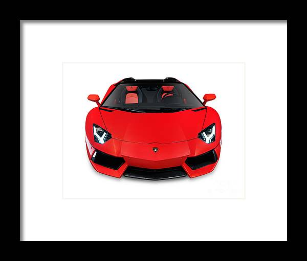 Lamborghini Aventador Lp 700 4 Roadster Sports Car Front View Framed