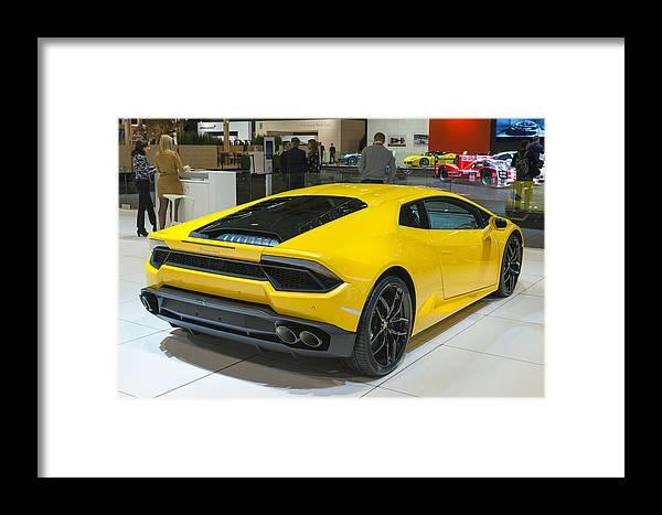 Lamborghini Huracan Sports Car Rear View Framed Print By Sjo