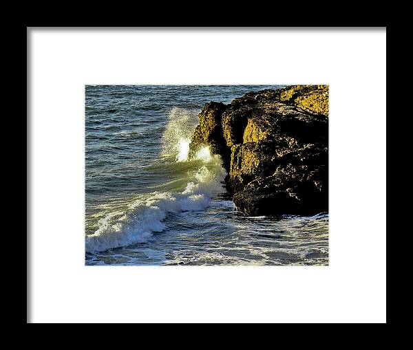 Ocean Framed Print featuring the photograph Land Versus The Sea by David Kehrli