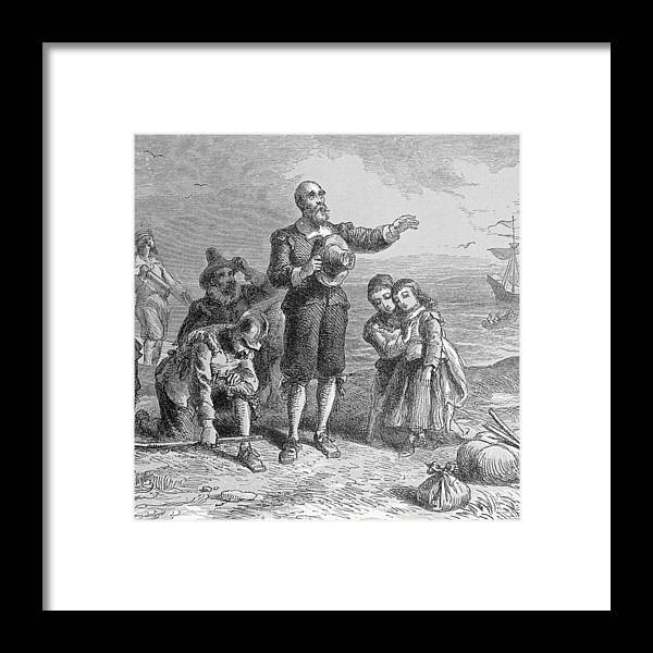 Pilgrim Fathers Framed Print featuring the photograph Landing Of The Pilgrims, 1620, Engraved By A. Bollett, From Harpers Monthly, 1857 Engraving B&w by Felix Octavius Carr Darley
