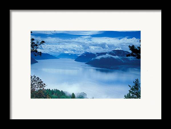 Fog; Landscape; Mist; Mountain; Mountains; Nature; Nobody; Outdoors; Outside; River; Rivers & Lakes; Scenery; Scenic; Scenics; Sky; Trees; Water Framed Print featuring the photograph Landscape by Anonymous