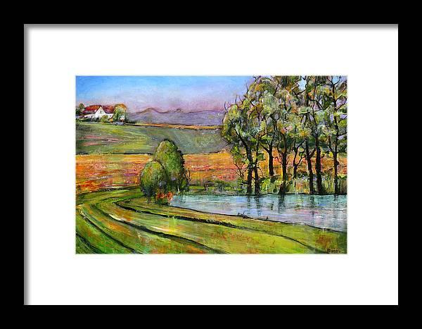 Landscape Art Framed Print featuring the painting Landscape Art Scenic Fields by Blenda Studio