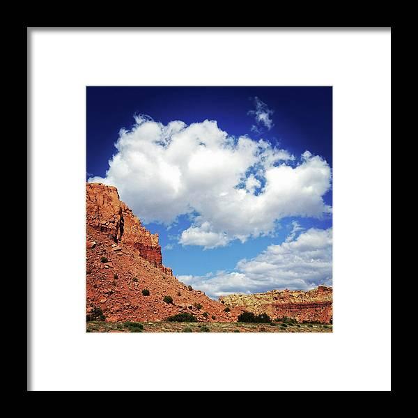 Scenics Framed Print featuring the photograph Landscape Desert Badlands Sky by Amygdala imagery
