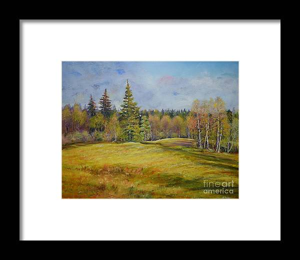 Raija Merila Framed Print featuring the painting Landscape From Pyhajarvi by Raija Merila