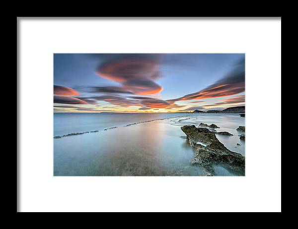 Tranquility Framed Print featuring the photograph Landscape In The Sea With Clouds by Photographer Of The World