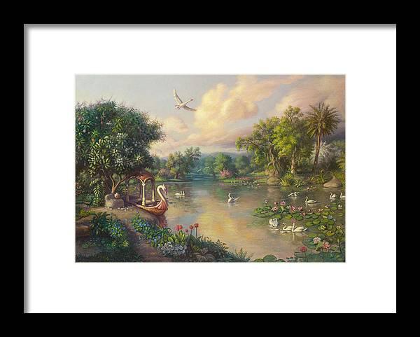 .landscape Framed Print featuring the painting Landscape by Satchitananda das Saccidananda das