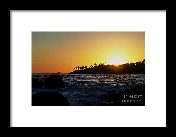 Sun. Rocks. Yellow. Blue. Waves. Sky. Palm Trees. Golden Hour. Landscape. Beautiful. Clear. Amazing. Framed Print featuring the photograph Landscape Shot by Faisal mirza