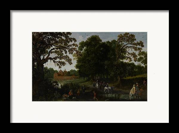Landscape Framed Print featuring the painting Landscape With A Courtly Procession Before Abtspoel Castle by Esaias I van de Velde