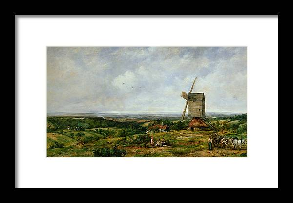 Children Framed Print featuring the painting Landscape With Figures By A Windmill by Frederick Waters Watts