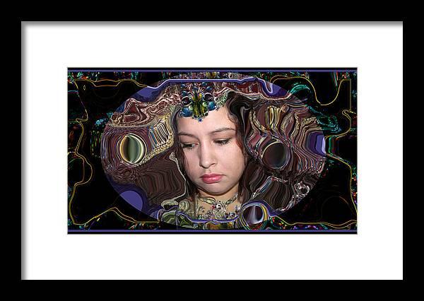 Portrait Framed Print featuring the digital art Lapislazuli Beauty by Otto Rapp