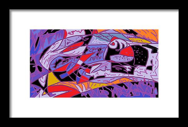 Abstract Fish Framed Print featuring the digital art Large Fish by Beebe Barksdale-Bruner