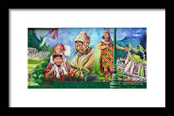 Mural Framed Print featuring the photograph Large Mural In Cusco Peru Part 4 by Ralf Broskvar