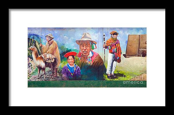 Mural Framed Print featuring the photograph Large Mural In Cusco Peru Part 6 by Ralf Broskvar