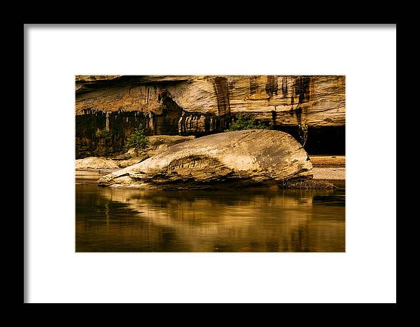 Kentucky Framed Print featuring the photograph Large Rock In Cumberland River by Amanda Kiplinger