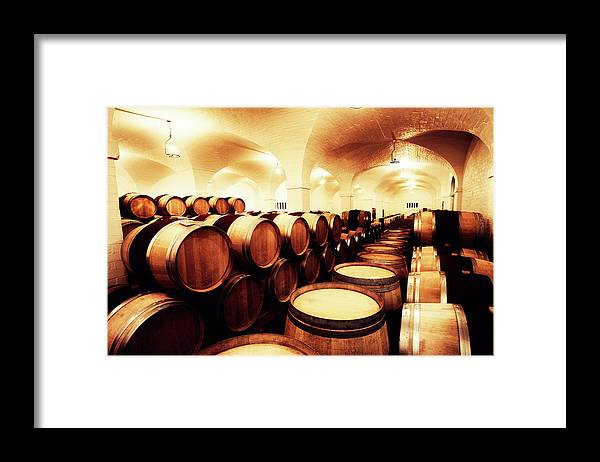 Alcohol Framed Print featuring the photograph Large Winery Cellar Filled With Oak by Rapideye