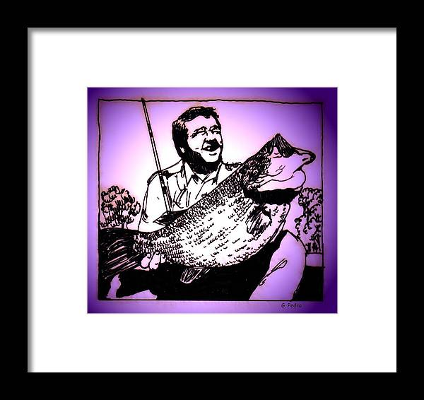 Fish Framed Print featuring the digital art Largemouth by George Pedro