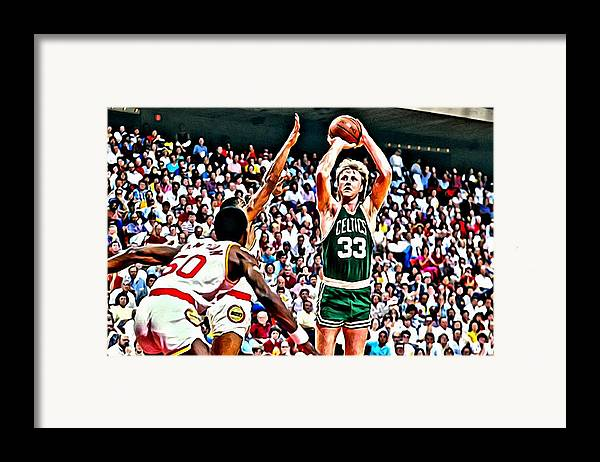 Larry Framed Print featuring the painting Larry Bird by Florian Rodarte