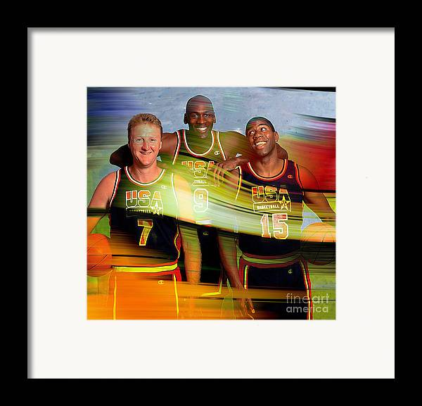 Framed Print featuring the mixed media Larry Bird Michael Jordon And Magic Johnson by Marvin Blaine
