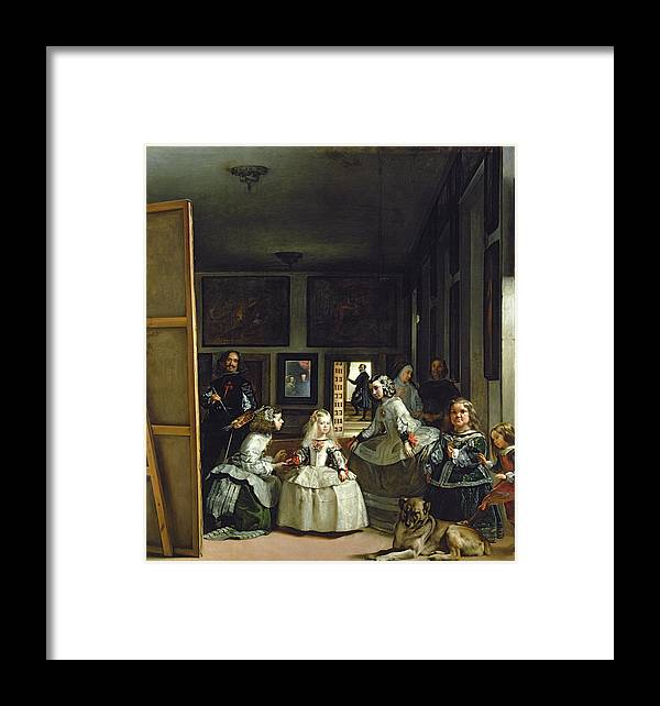 Velazquez Framed Print featuring the painting Las Meninas Or The Family Of Philip Iv, C.1656 by Diego Rodriguez de Silva y Velazquez