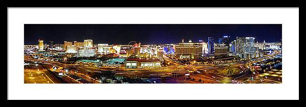 Cityscapes Framed Print featuring the photograph Las Vegas At Night - Panorama by Sheila Kay McIntyre
