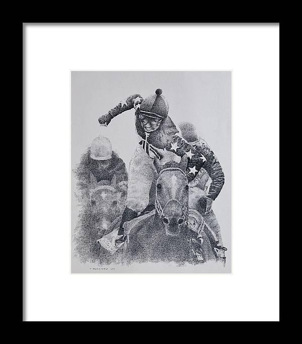 Horses Horse Racing Jockeys Racetrack Azeri Thorobreds Framed Print featuring the painting Last Call by Tony Ruggiero