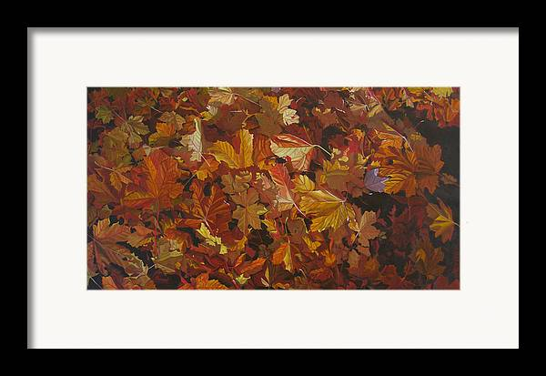 Fall Framed Print featuring the painting Last Fall In Monroe by Thu Nguyen