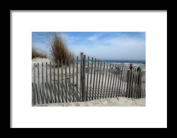 Landscapes Beach Art Sand Art Fence Wood Sky Blue Summertime Ocean Framed Print featuring the photograph Last Summer by Linda Sannuti