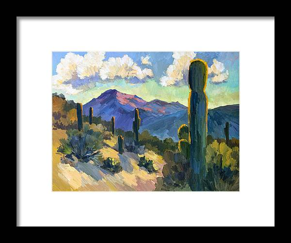 Late Afternoon Framed Print featuring the painting Late Afternoon Tucson by Diane McClary