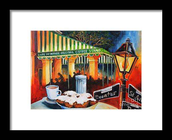 New Orleans Framed Print featuring the painting Late At Cafe Du Monde by Diane Millsap