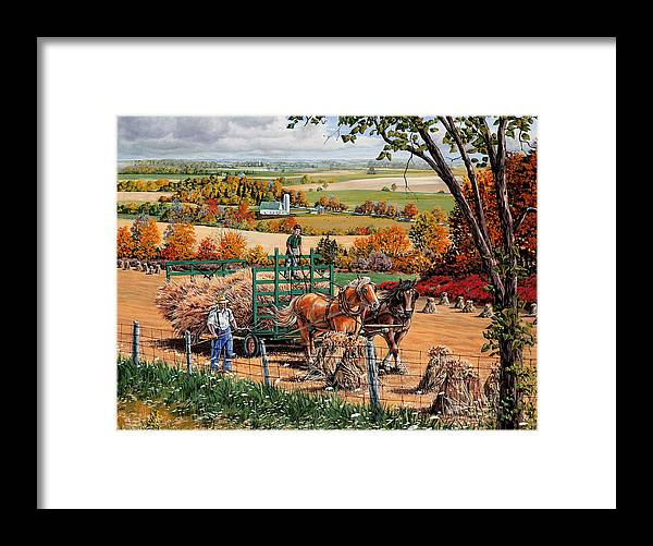 Harvest Framed Print featuring the painting Late Harvest by Roger Witmer