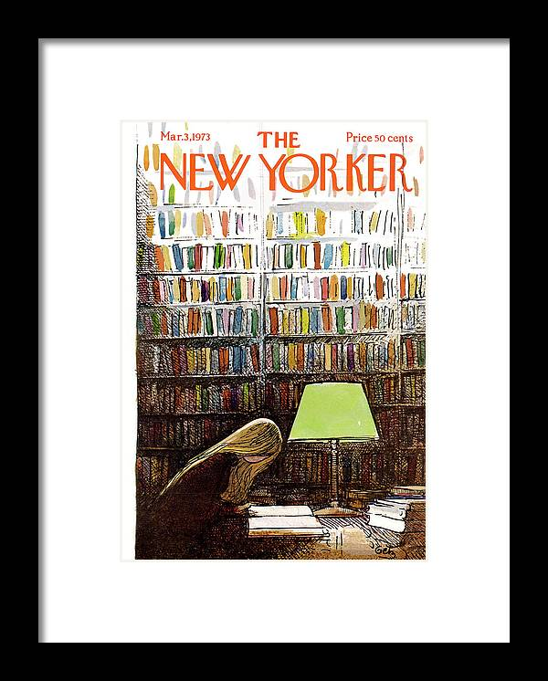 Library Framed Print featuring the painting New Yorker March 3, 1973 by Arthur Getz