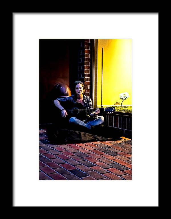 Buskers Framed Print featuring the digital art Late Night Busking by John Haldane