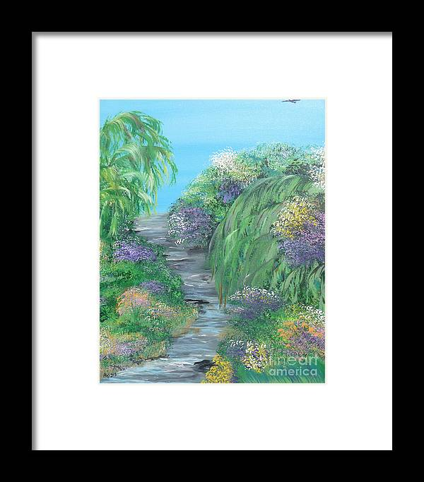 Summer Framed Print featuring the painting Late Summer On The White River by Alys Caviness-Gober