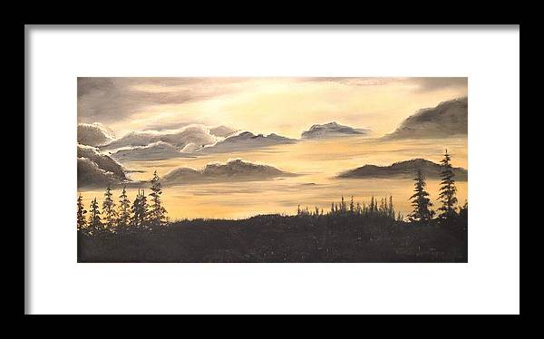 Oils Framed Print featuring the painting Late Sunset by Janet Hufnagle