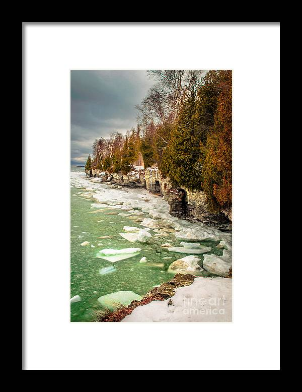 Cave Point Framed Print featuring the photograph Late Winter At Cave Point by Ever-Curious Photography