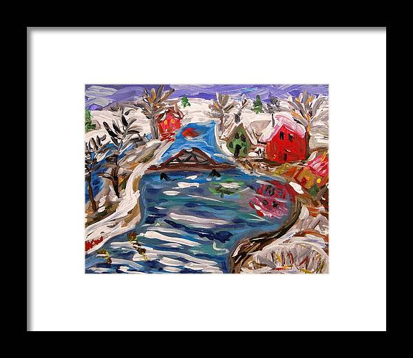Snow Framed Print featuring the painting Late Winter Canal-mary's View by Mary Carol Williams