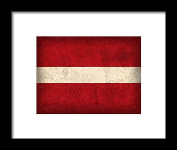 Latvia Framed Print featuring the mixed media Latvia Flag Vintage Distressed Finish by Design Turnpike