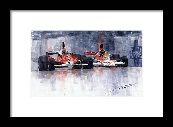 Watercolor Framed Print featuring the painting Lauda vs Hunt Brazilian GP 1976 by Yuriy Shevchuk