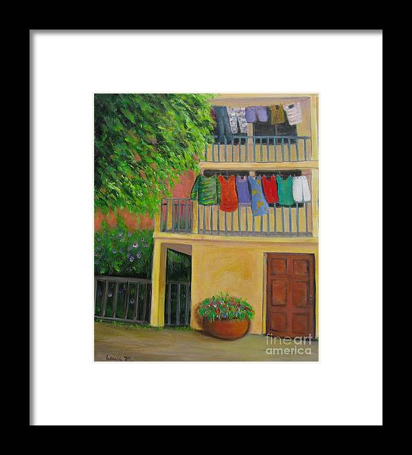 Laundry Framed Print featuring the painting Laundry Day by Laurie Morgan