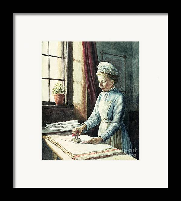 Servant Framed Print featuring the painting Laundry Maid by English School