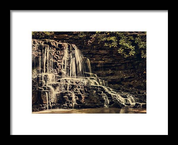 Laurel Run Park Framed Print featuring the photograph Laurel Run Falls by Heather Applegate
