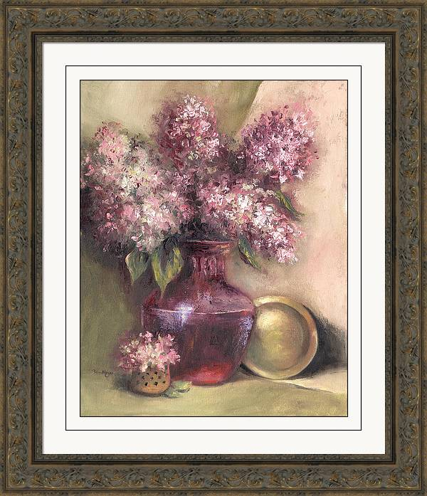 Floral Painting Of Lavender Hygrandeas Framed Print featuring the painting Lavender Hydrangeas by Terri Meyer