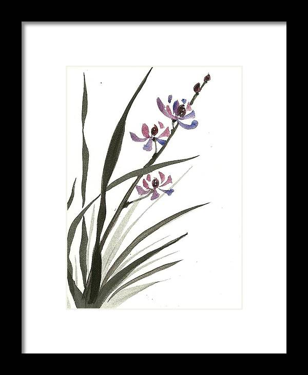 Medium Pure Watercolor Framed Print featuring the painting Lavender Orchid by M E Wood