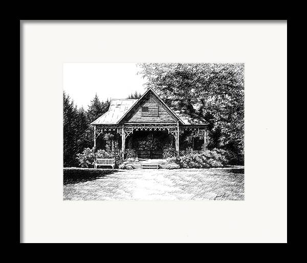 Pen And Ink Drawing Framed Print featuring the drawing Lawn Chair Theater In Leiper's Fork by Janet King