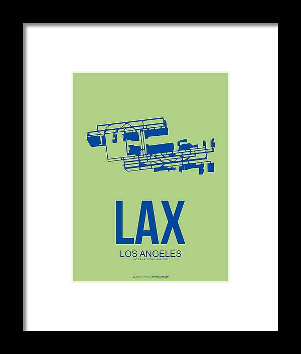 Los Angeles Framed Print featuring the digital art Lax Airport Poster 1 by Naxart Studio
