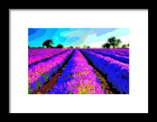 Layer-art Framed Print featuring the digital art Layer Landscape Art Lavender Field by Mary Clanahan