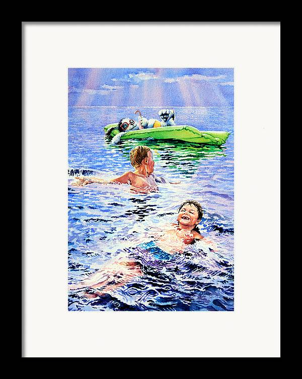 Boys Swimming Painting Framed Print featuring the painting Lazy Hazy Crazy Days by Hanne Lore Koehler