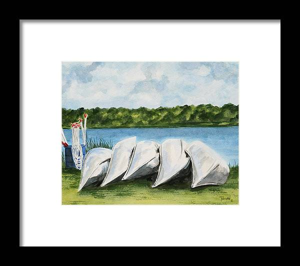 Canoes Framed Print featuring the painting Lazy River by Regan J Smith